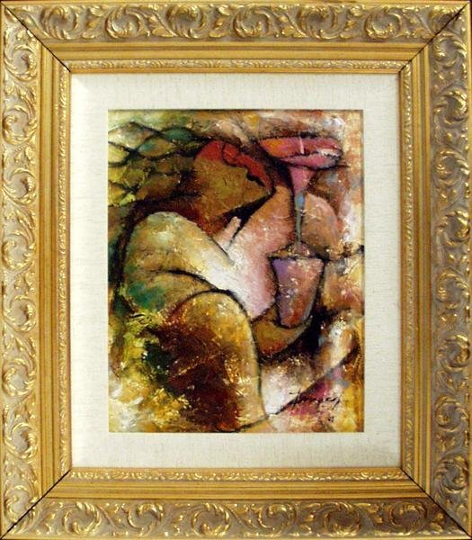 Essud Fungcap: Flower to You Framed Oil on Board 2005