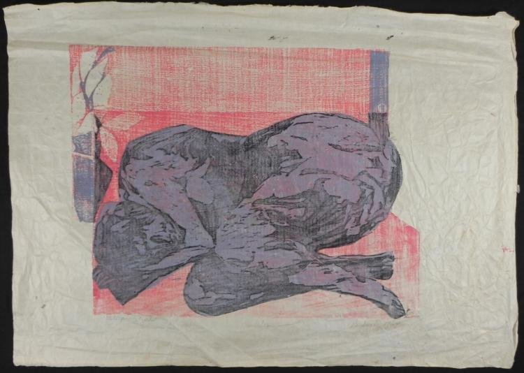 Betty Snyder Rees Original Large Woodcut Print Girl