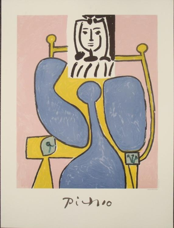 Pablo Picasso : Woman and Blue Rose Art Print