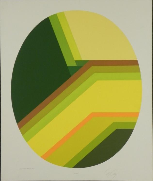 Doug Danz Signed Yellow Green Modern Proof Print Solado