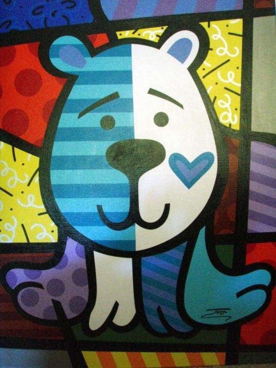 Jozza Original Large Painting On Canvas Blue Bear