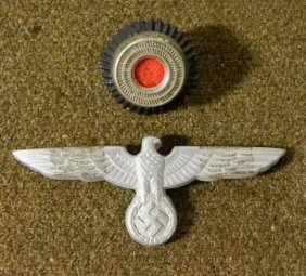 NAZI COCKADE & EAGLE W/SWASTIKA FOR VISOR HAT-EAGLE