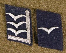 TWO NAZI LUFTWAFFE ORIGINAL COLLAR TABS-OFFICERS W/GULL