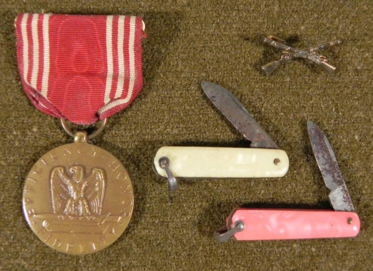 WWII GOOD CONDUCT MEDAL -INSIGNIA INFANTRY & 2 KNIVES