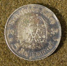NAZI 5 RM COIN--1934 W/SWASTIKA & GERMAN EAGLE