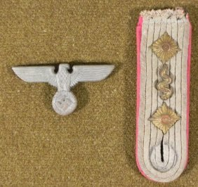 ORIGINAL NAZI MEDICAL OFFICERS SHOULDER BOARD & CAP