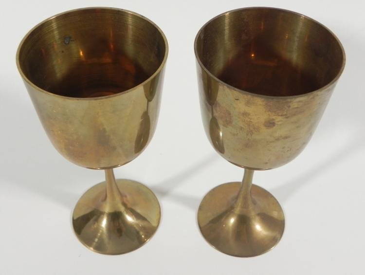 "VINTAGE PAIR OF BRASS GOBLETS- 5 1/2"" TALL - 2"