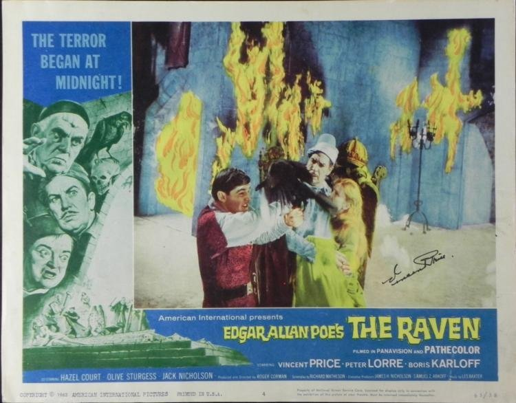 1963 The Raven Movie Lobby Card Signed Vincent Price