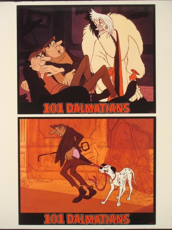 2 Original 101 Dalmatians Lobby Cards Disney w/Cruella