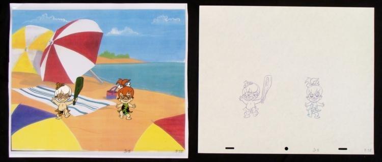 Animation Cel Original Bam Bam Pebbles Drawing