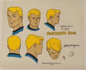 Johnny Storm Cel Animation Fantastic Four Orig Signed