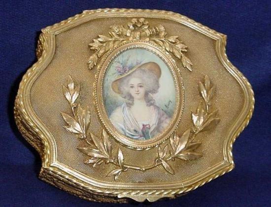 MWF598 French Signed Bronze Portrait Jewelry Box