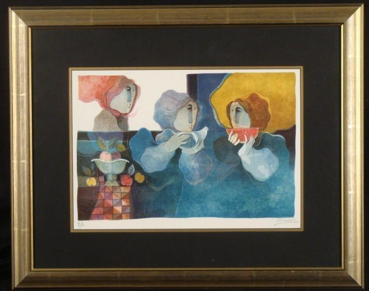 Alvar Sunol Signed Proof Art Print Framed Bird & Fruit