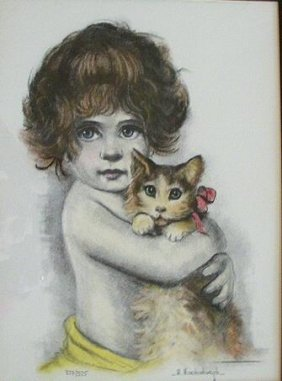 Girl With Kitty by Ann Hershenburgh