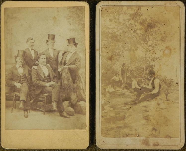 2 Antique CDV Photographs Men in Top Hats, Outdoors