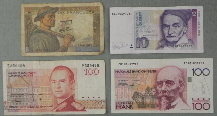 Misc Old European Paper Money: Germany, France, Belgium