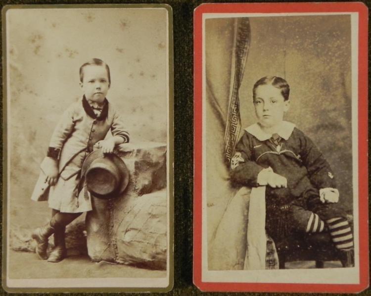 2 Antique CDV Photographs Children Boys, Sailor Outfit
