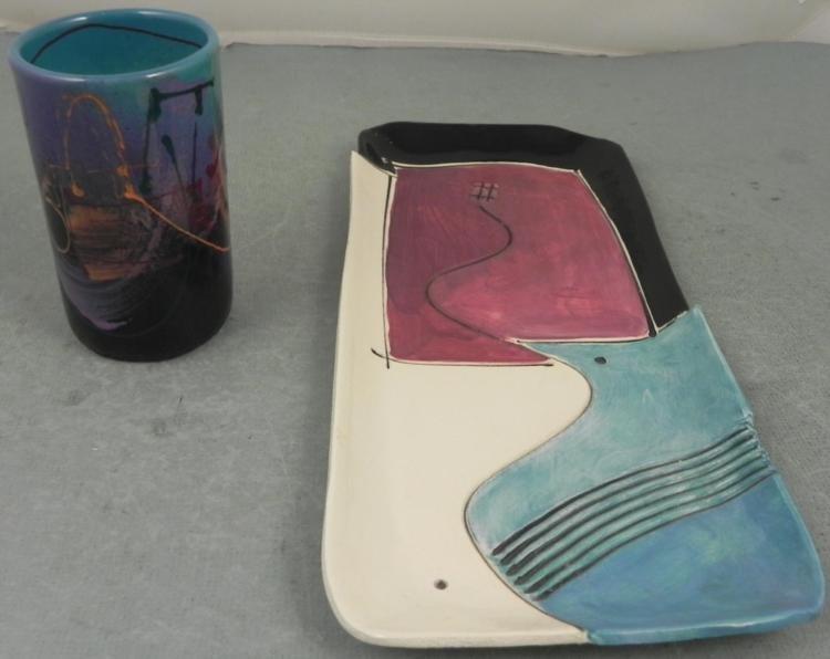 2 Artist Signed Modern Desk Pottery Tray, Pen Holder