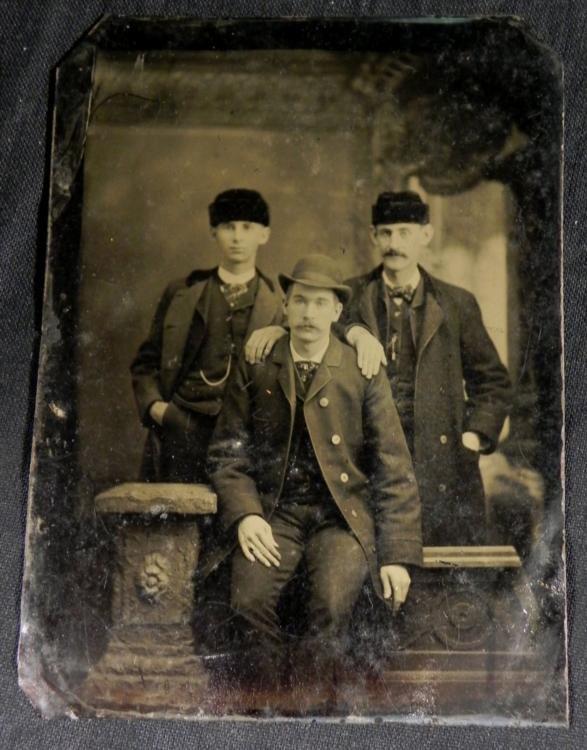 Antique Tintype Photo 3 Men Fur Hats 1/4 Plate