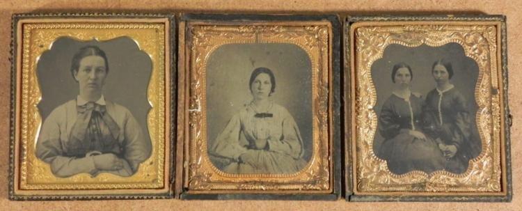3 Antique Photographs In Cases -Women, Girls