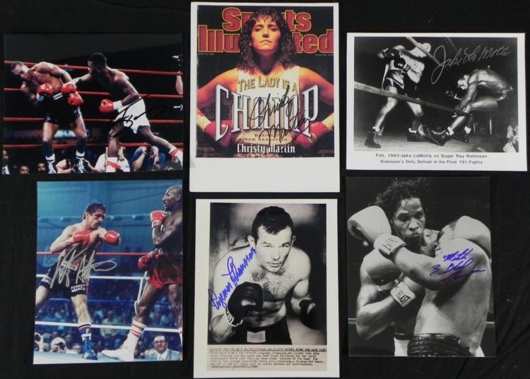 6) Signed Memorabilia Boxing Greats Photos Prints