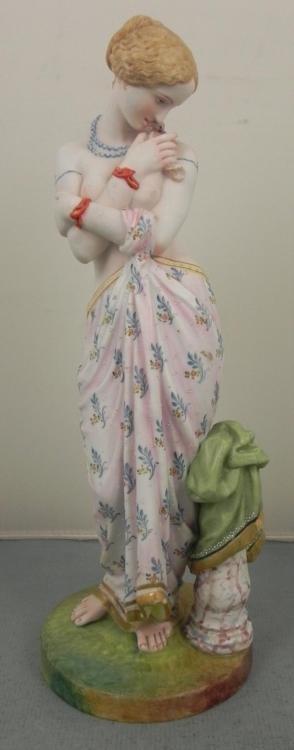Nude Lady w/ Dove Bisque Figurine Sculpture Signed E.V.