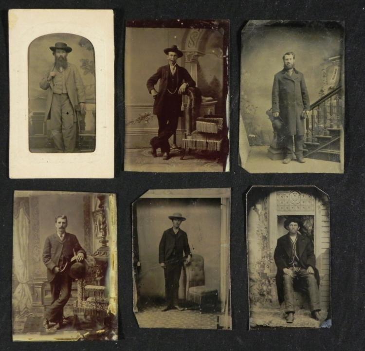6 Antique Tintype Photos Studio Shots Men 1890s