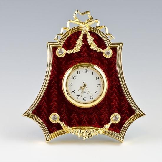 Faberge Inspired Red Enameled Clock Frame