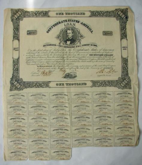 MWF912B Confederate $1000 war bond dated August 19th 18