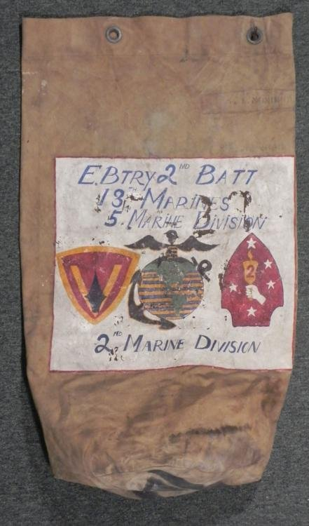 WWII DOUBLE SIDED MARINE DUFFEL BAG 2ND MARINE DIVISON