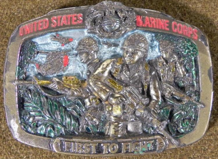 USMC MARINE CORPS FIRST TO FIGHT LTD ED BELT BUCKLE