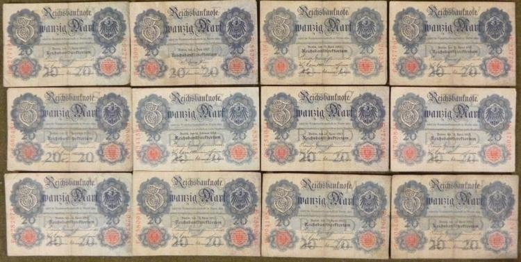 COLLECTION OF 20 1910 GERMAN 20 MARK NOTES