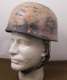 NAZI LUFTWAFFE DOUBLE DECAL PARATROOPER CAMO HELMET