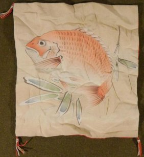 WWII JAPANESE SILK TAPESTRY - FISH AND RED GEOMETRIC
