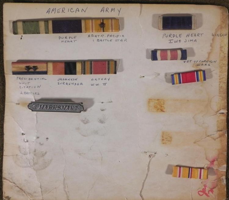 WWII 6 RIBBON BARS AND MARKSMANSHIP BADGE
