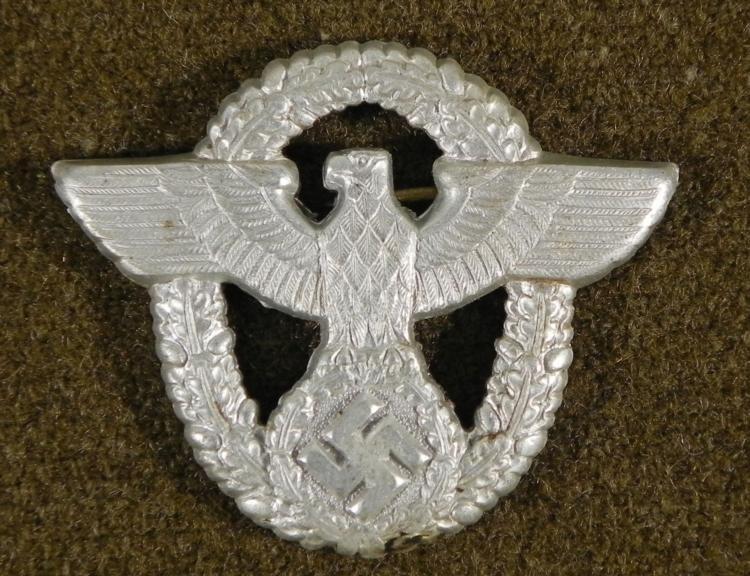 NAZI POLICE VISOR CAP INSIGNIA-ORIGINAL