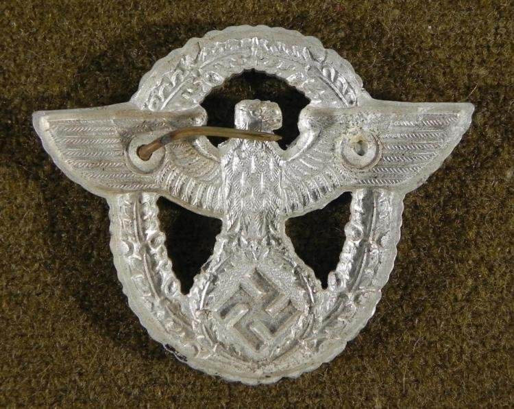 NAZI POLICE VISOR CAP INSIGNIA-ORIGINAL - 2