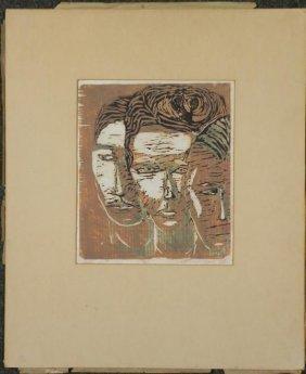 Betty Snyder Shapiro Original Woodcut Print -Witnesses
