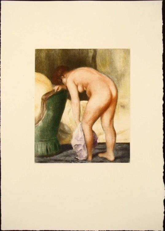 Renoir Colored Etching Art Print - Apres le Bain
