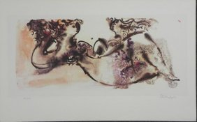 Chaim Gross Reclining Nude Signed& Numbered Litho Print
