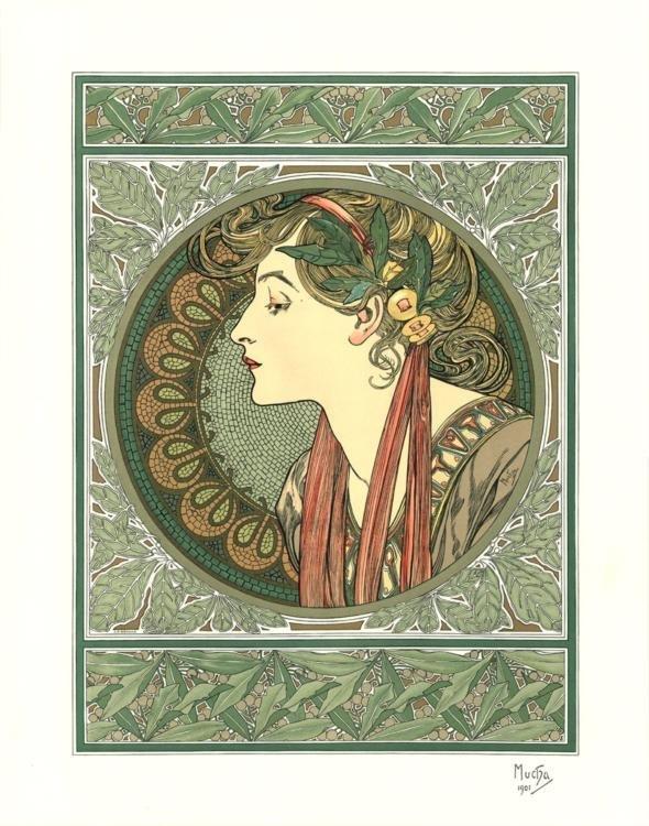Alphonse Mucha Laurier 1901 Lithograph Art Print