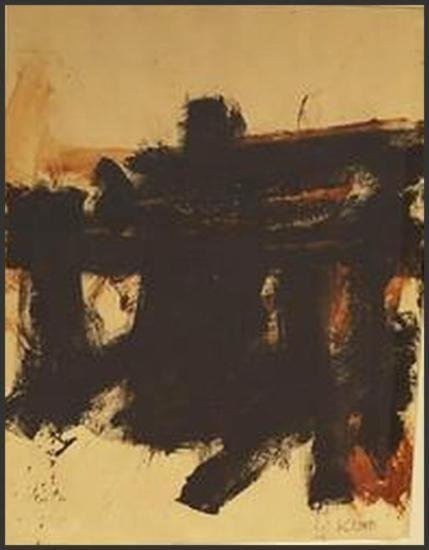 FRANZ KLINE ABSTRACT OIL ON PAPER SIGNED FRAMED