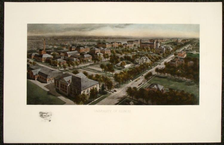 University of Illinois Art Print U of I Etching 1911