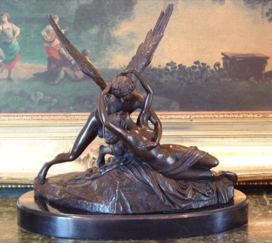 Romantic Bronze Sculpture Cupid and Psyche