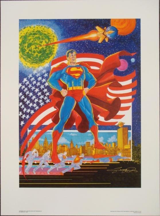 Superman Signed George Perez Print Defender of Mankind