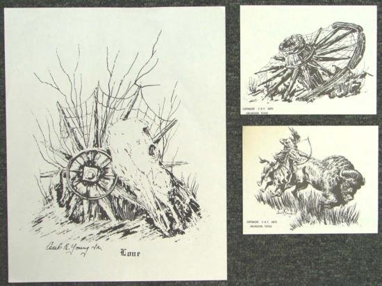 3 Cecil Young Prints LONE Western County + Cowboy Art