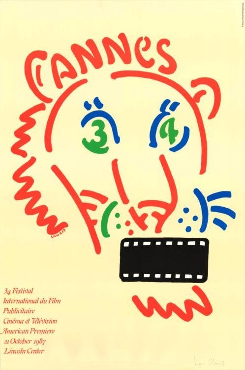 Seymour Chwast Cannes 1987 Signed Poster