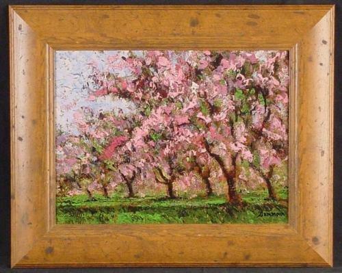 Rustic Frame CHERRY TREES IN BLOOM Sammoun Canvas Art