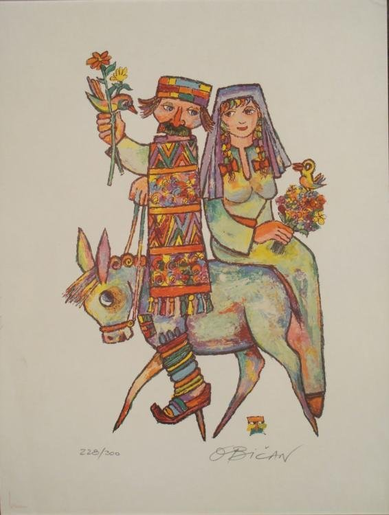 obican signed art print couple on donkey