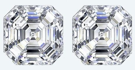 GT0611120011 Pair 2 Ct. Asscher cut VVS1 Color BIANCO d